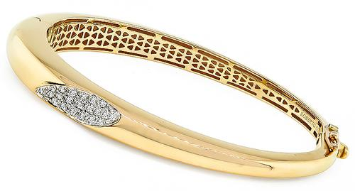 Round Cut Diamond 18k Rose Gold Bangle by Roberto Coin