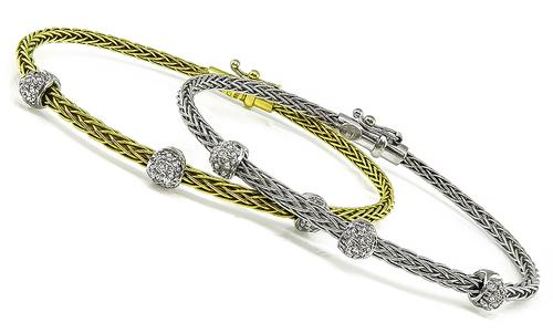 Round Cut Diamond 18k Yellow and White Gold Bangle by Roberto Coin