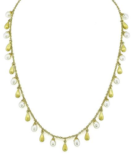 18k Yellow Gold Pearl Necklace by Roberto Coin