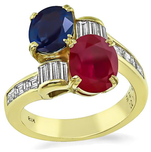 Oval Cut Ruby and Sapphire Baguette and Carre Cut Diamond 18k Yellow Gold Ring