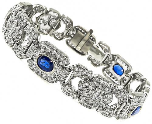 Oval Cut Sapphire Round and Baguette Cut Diamond 18k White Gold Bracelet