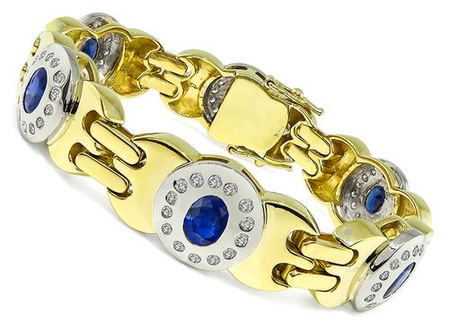 Oval Cut Sapphire Round Cut Diamond Two Tone 18k Yellow and White Gold Bracelet