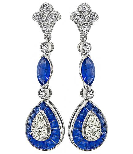 Marquise and Faceted Cut Sapphire Pear and Round Cut Diamond 18k White Gold Drop Earrings