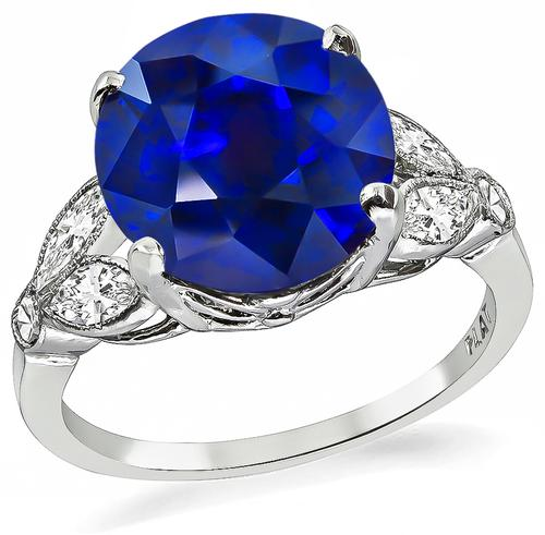Cushion Cut Sapphire Marquise and Round Cut Diamond Platinum Engagement Ring