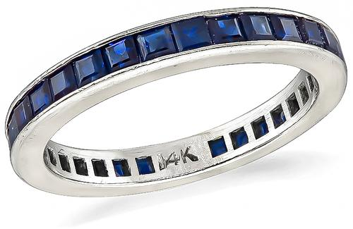 Square Cut Sapphire 14k White Gold Eternity Wedding Band