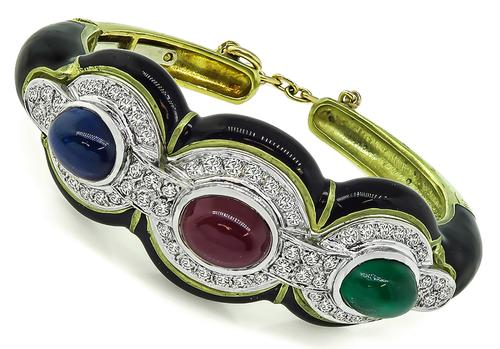 Cabochon Multi Color Precious Stone Diamond Enamel 18k Yellow Gold Bangle