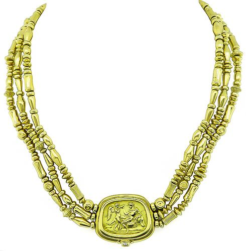 18k Yellow Gold Greco Roman Necklace by Seidengang