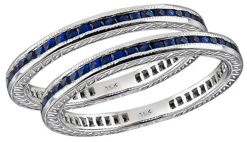French Cut Sapphire 18k White Gold Eternity Wedding Band Set
