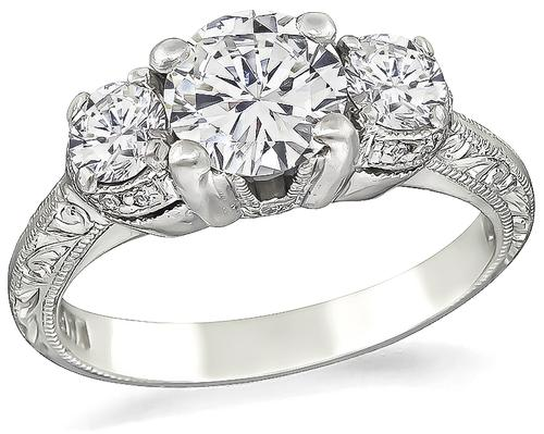 Tacori Round Cut Diamond Platinum Engagement Ring