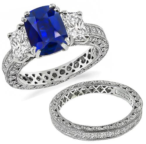 Cushion Cut Sapphire Radiant Princess and Round Cut Diamond Platinum Engagement Ring and Wedding Band Set