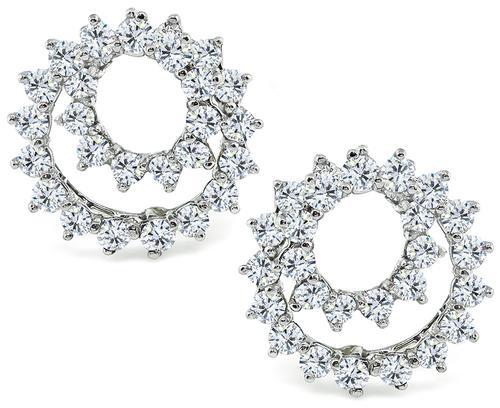 Round Cut Diamond Platinum Swirl Earrings by Tiffany & Co