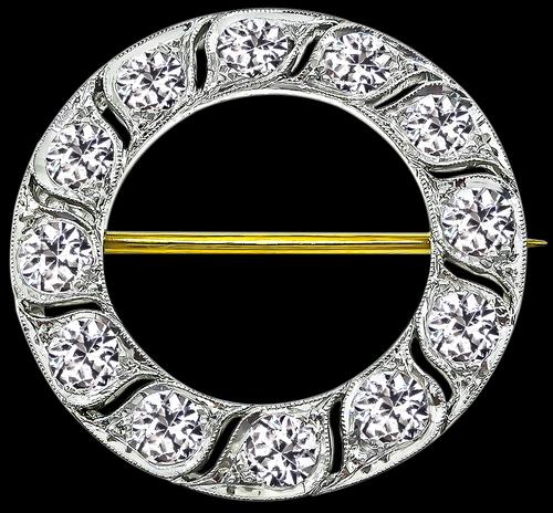 Old Mine Mine Cut Diamond Platinum Pin by Tiffany & Co
