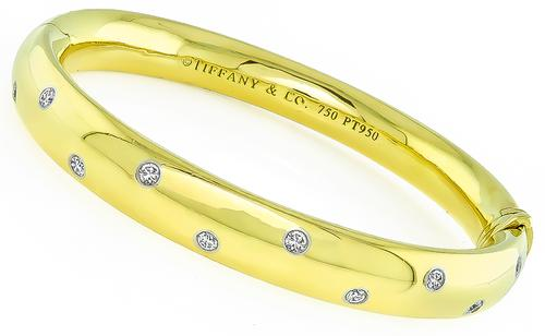 Round Cut Diamond 18k Yellow Gold Platinum Etoile Bangle by Tiffany & Co