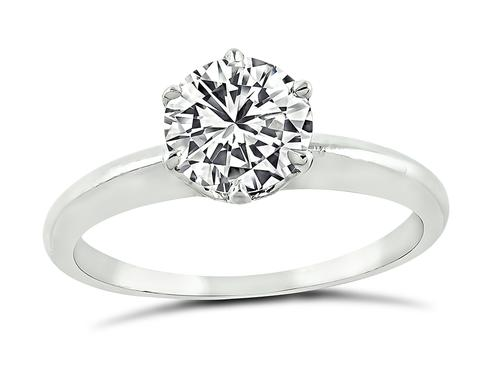 Round Brilliant Cut Diamond Platinum Solitaire Engagement Ring by Tiffany & Co