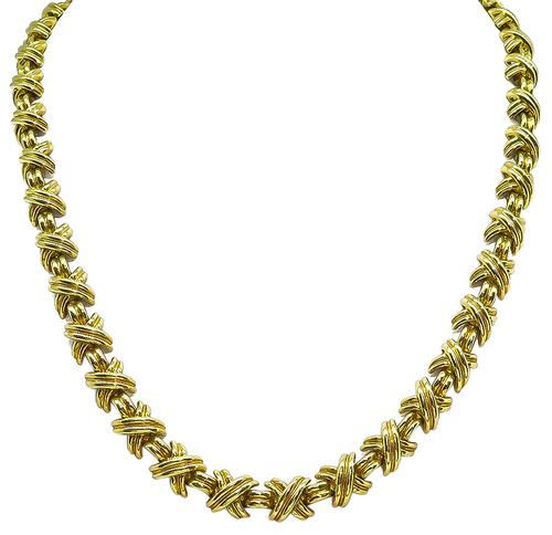 18k Yellow Gold X Necklace by Tiffany & Co