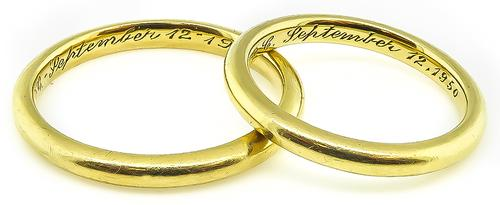 1950s 18k Yellow Gold Wedding Band Set by Tiffany & Co