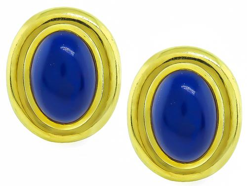 1982 Cabochon Cut Lapis 18K Yellow Gold Paloma Picasso Earrings by Tiffany & Co