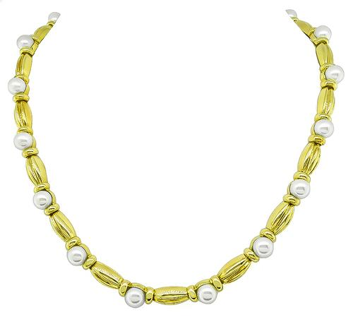 18k Yellow Gold Pearl Necklace by Tiffany & Co