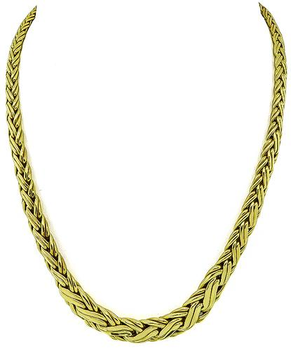 18k Yellow Gold Weave Necklace by Tiffany & Co