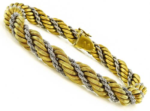 18k Yellow and White Gold Twisted Rope Bracelet