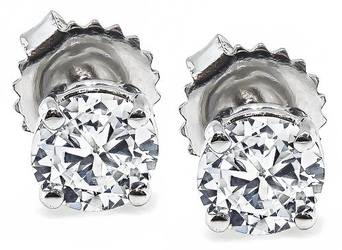 Round Brilliant Cut Diamond 14k White Gold Studs Earrings