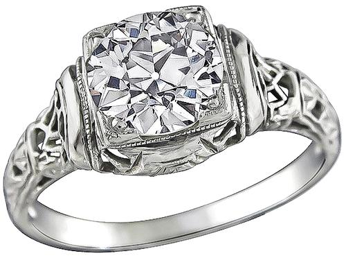 Antique Old Mine Cut Diamond 18k White Gold Engagement Ring