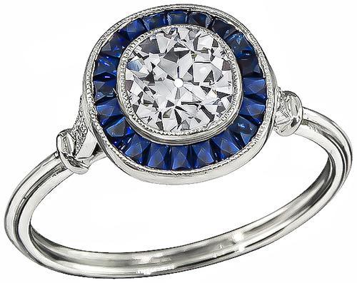 Cushion Cut Diamond Sapphire Platinum Engagement Ring