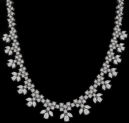 Round Marquise and Pear Shape Diamond Platinum Necklace