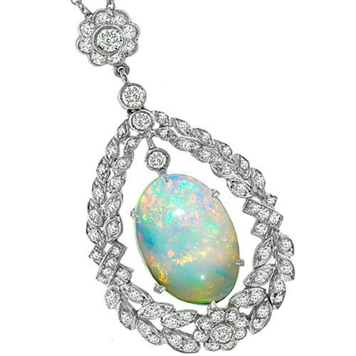 Antique Style 3.71ct Opal 1.13ct Diamond Pendant