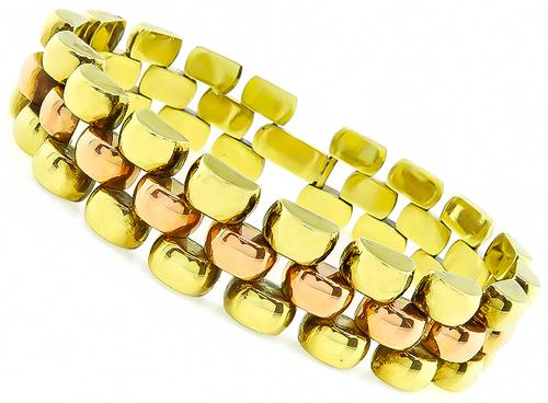 1940s Two Tone 14k Yellow and Pink Gold Bracelet