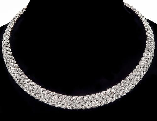 Round Cut Diamond Platinum Vannerie Collar Necklace by Tiffany & Co