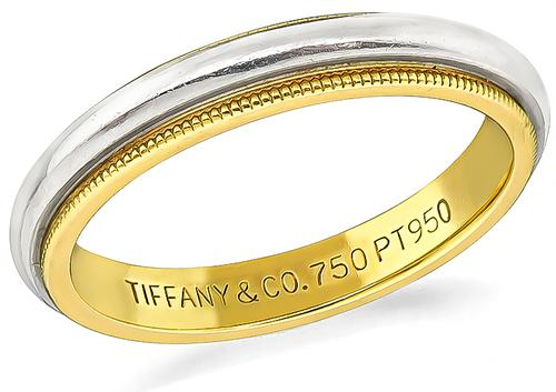 Platinum 18k Yellow Gold Wedding Band by Tiffany & Co