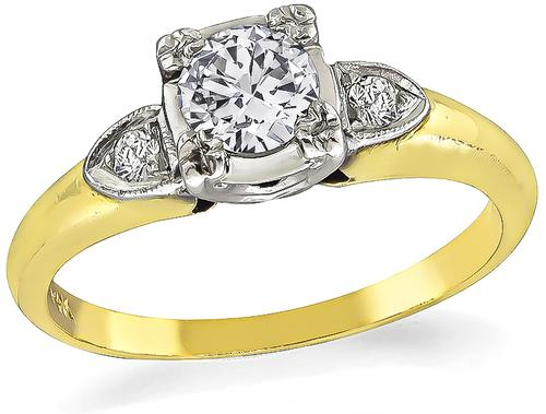 Vintage Old Mine Cut Diamond 14k Yellow and White Gold Engagement Ring