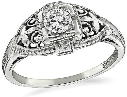 Vintage Old European Cut Diamond 18k White Gold Engagement Ring
