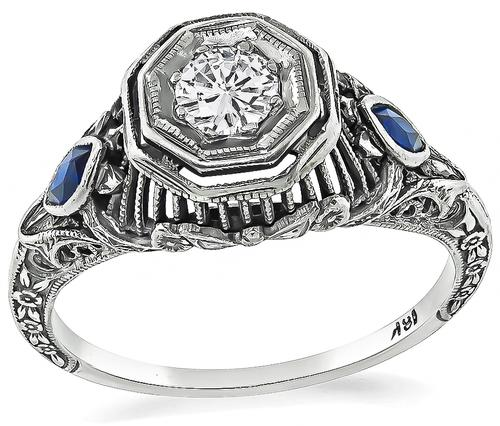 Art Deco Round Cut Diamond Sapphire 18k White Gold Engagement Ring