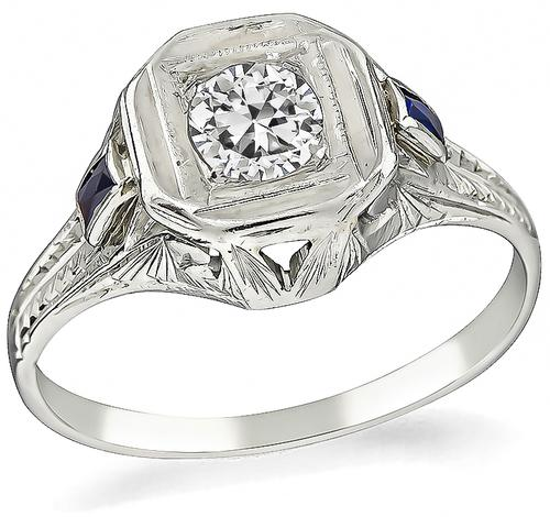 Vintage Round Cut Diamond Sapphire 18k White Gold Engagement Ring