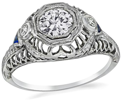 Art Deco Round Cut Diamond Sapphire 14k White Gold Engagement Ring