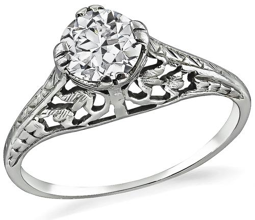 Vintage Round Cut Diamond 14k White Gold Engagement Ring