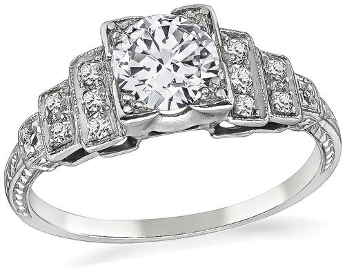 Vintage Round Cut Diamond Platinum Engagement Ring