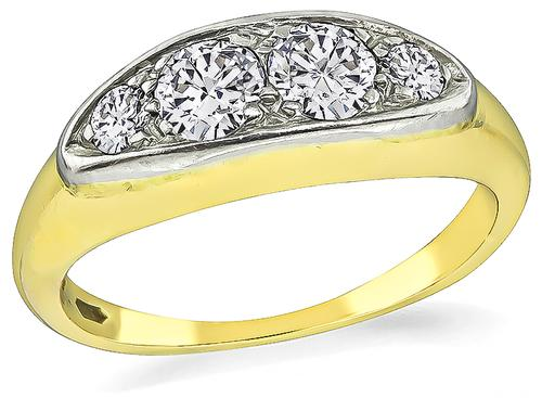 Victorian Round and Old Mine Cut Diamond 14k Yellow and White Gold Ring
