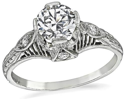 Edwardian European Cut Diamond Platinum Engagement Ring