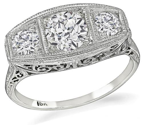 Edwardian Old European Cut Diamond 18k White Gold Anniversary Ring