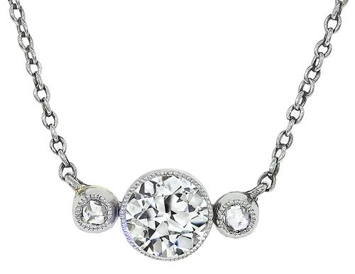 Vintage Old Mine Cut Diamond 14k Yellow and White Gold Necklace