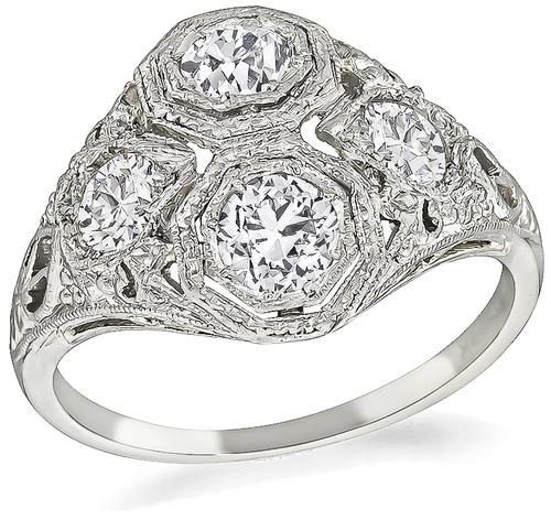 Art Deco Old Mine Cut Diamond Platinum and 18k White Gold Ring