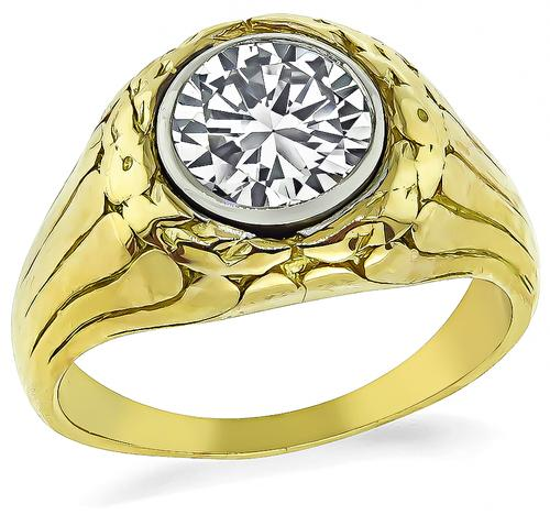 Victorian Round Cut Diamond 14k Yellow and White Gold Gypsy Ring
