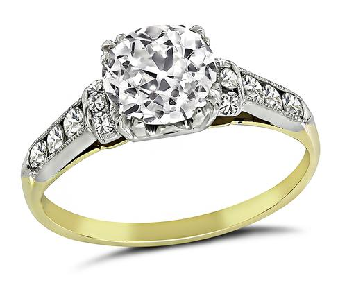 1920s Old Mine Cut Diamond 14k Yellow and White Gold Engagement Ring