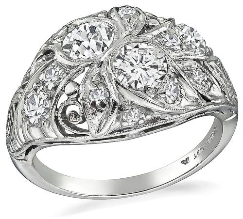 Art Deco Old Mine and Round Cut Diamond Platinum Ring
