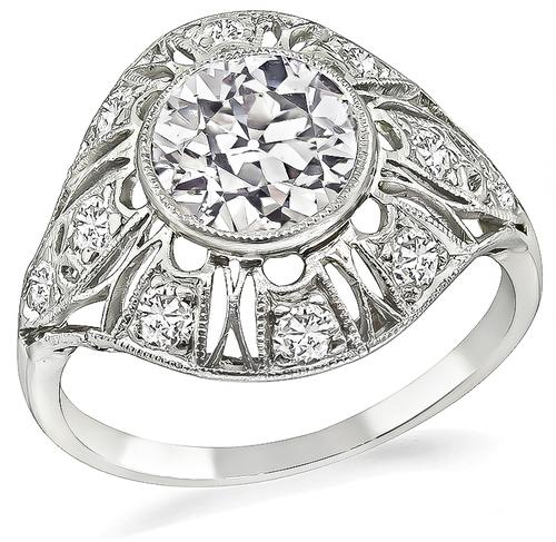 Art Deco Old European 14k White Gold Engagement Ring