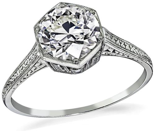 Edwardian Old Mine Cut Diamond 18k White Gold Engagement Ring