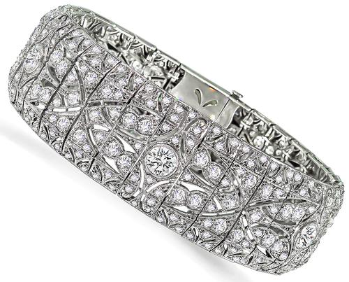 Vintage European Cut Diamond Platinum Bracelet
